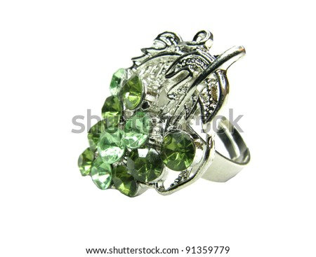 jewelry ring with green crystals isolated on white background - stock photo