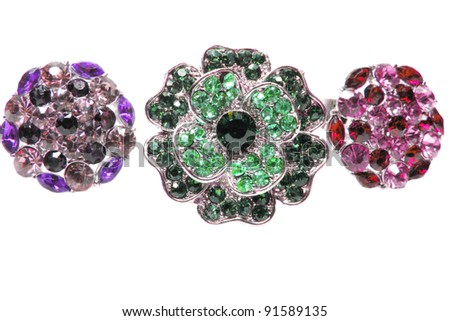 jewelry rings group with crystals isolated on white background - stock photo