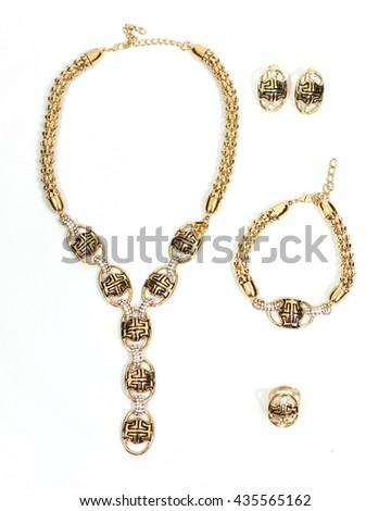 Jewelry set on white background