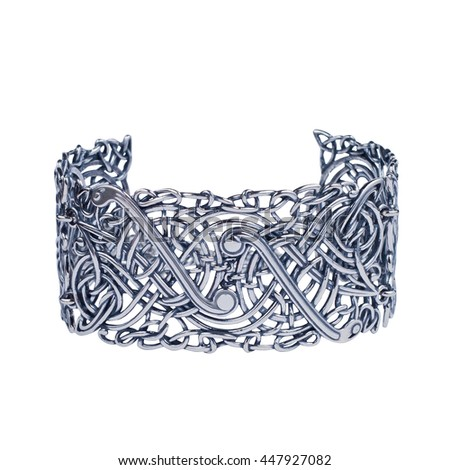 Jewelry silver bracelet on white background. Isolated  - stock photo