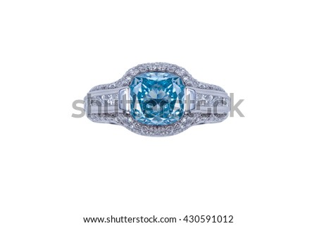 Jewelry silver ring with blue diamond on white background. Isolated