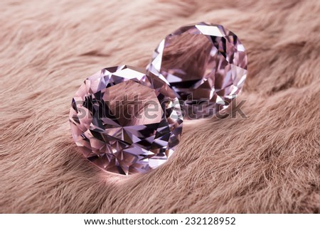 Jewels on fur background - stock photo