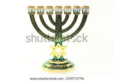 Jewish candlestick in front of white background - stock photo