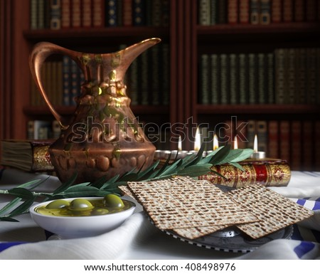 Jewish celebrate pesach passover with books, olive and pitcher - stock photo