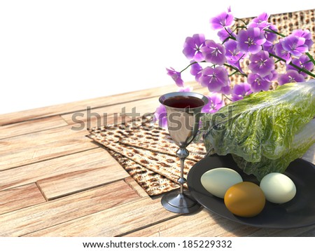 Jewish celebrate pesach passover with eggs, matzo and flowers isolate white background - stock photo