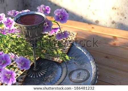 Jewish celebrate pesah passover with matzo and flowers holiday background - stock photo