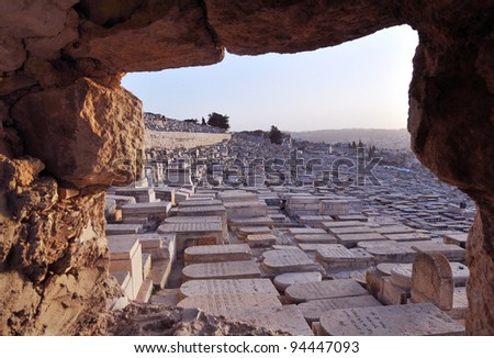 Jewish Cemetery on the mount of Olives, East Jerusalem - stock photo