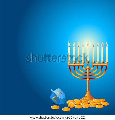 Jewish festival of Hanukkah/Chanukah Background, including Menorah, dreidls/sevivot and Hanukkah Gelt - stock photo