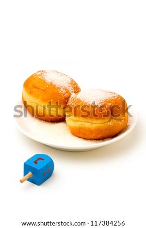 Jewish holiday Hanukkah symbols on white background - stock photo