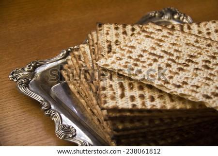 Jewish Matza on Decorated Silver Plate.CloseUp  - stock photo