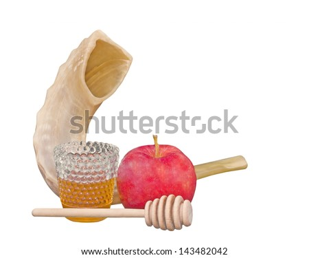 Jewish New Year holiday. Rosh Hashana shofar, fresh red apple, wood honey stick, and glass of honey. Horizontal photo, isolated on a white background. - stock photo