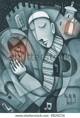 Jewish prayer. Sepia version. Illustration by Eugene Ivanov. - stock photo