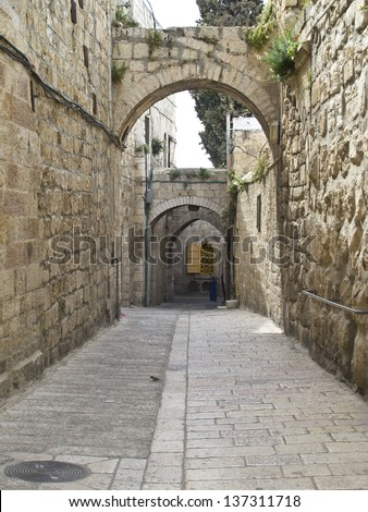 Jewish Quarter Streets on Jerusalem Old City.