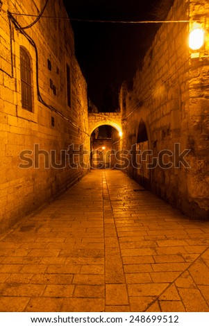 Jewish Quarter Streets on Jerusalem Old City at night. - stock photo