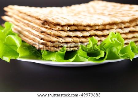 Jewish religious feast Passover traditional food Matza - stock photo