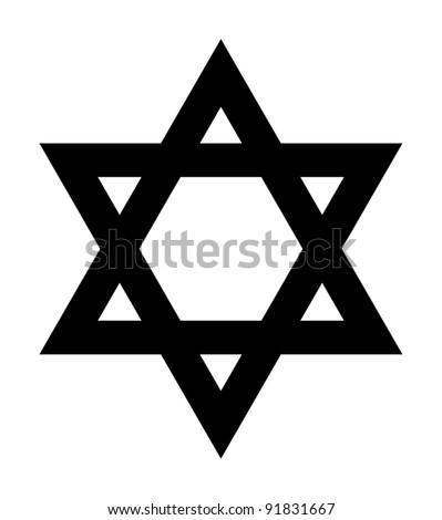 Jewish Star of David sign in silhouette on white background.