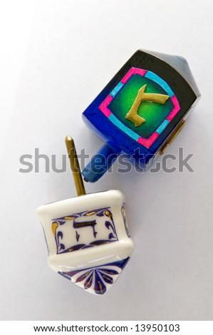 Jewish traditional Hanukkah dreidels - stock photo