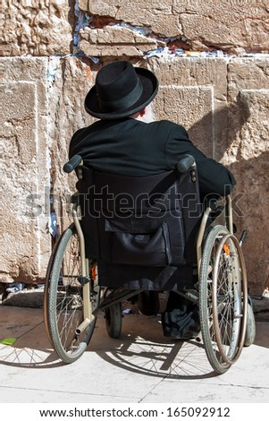 Jews praying at the Western Wall - Jerusalem - stock photo