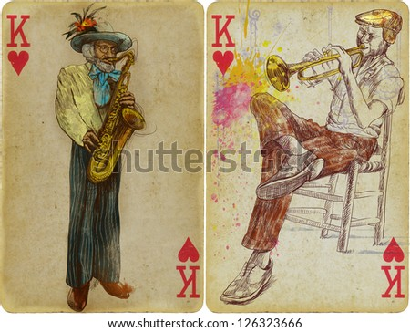 Jezzmen - The Kings od Jazz and jam sessions. /// Mixed media: hand drawing in the foreground playing cards. - stock photo