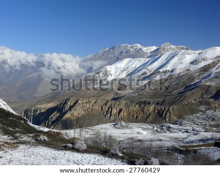 Jharkot, Mustang valley, Nepal - stock photo
