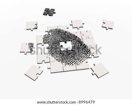 Jigsaw fingerprint puzzle, a metaphor for crime, security and identity - stock photo