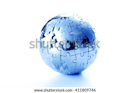 Jigsaw globe puzzle on white background