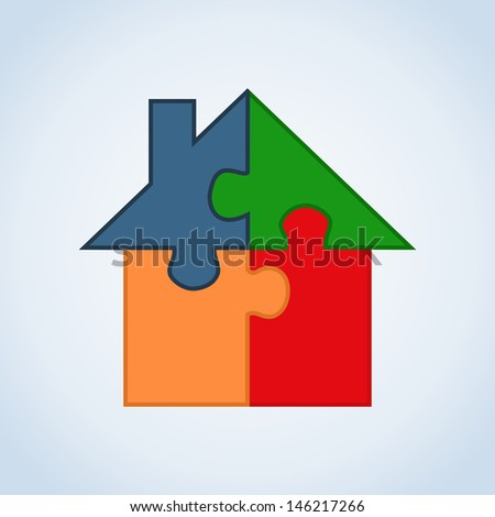 Jigsaw home silhouette set in isolated white. - stock photo