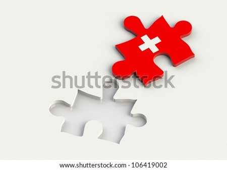 Jigsaw Piece with red cross symbol