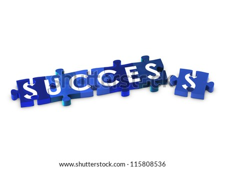 Jigsaw pieces spelling out SUCCESS - stock photo