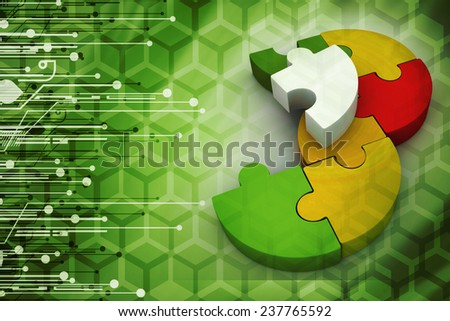 Jigsaw puzzle - stock photo