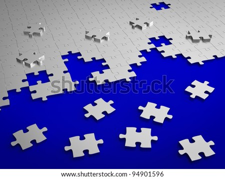 Jigsaw puzzle assemble on blue - stock photo