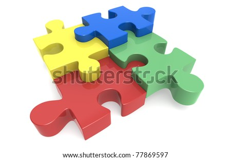 jigsaw Puzzle. Blue, yellow, red and green Puzzle