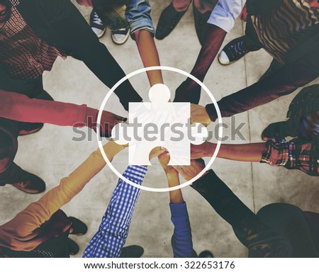 Jigsaw Puzzle Connection Cooperation Network Concept - stock photo