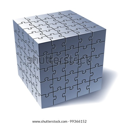 Jigsaw Puzzle Cube. All Parts Together. Rasterized Version - stock photo