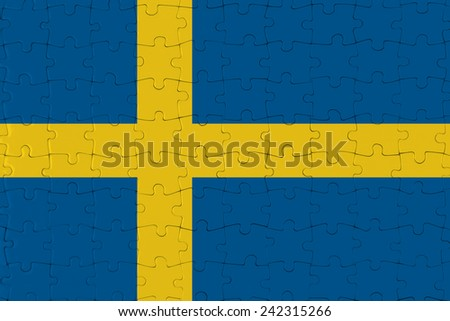 Jigsaw Puzzle Flag of Sweden - stock photo
