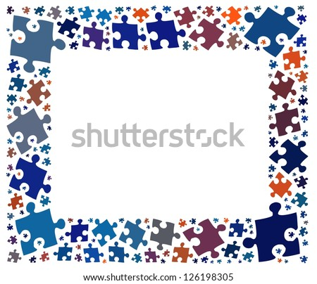 Jigsaw Puzzle Frame Copy Space Text Stock Illustration 126198305 ...