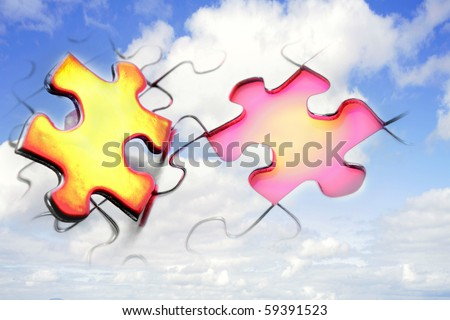 Jigsaw puzzle in blue sky - stock photo