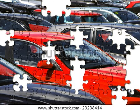 Jigsaw puzzle of cars in parking lot