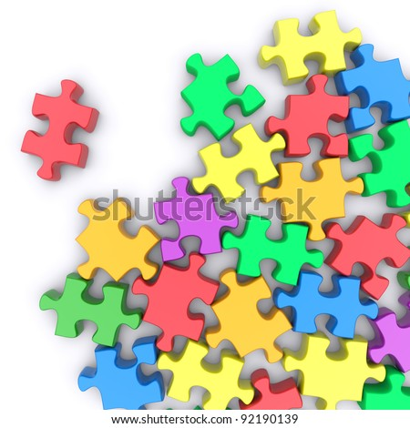 Jigsaw puzzle on a white background. 3d rendered image