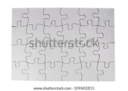 Jigsaw puzzle on plain background