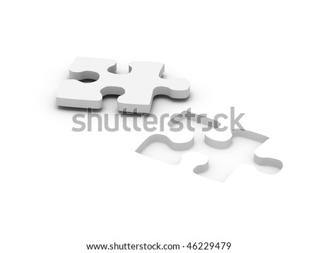 jigsaw puzzle. Part of puzzle isolated on white background. High quality 3d render. - stock photo