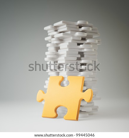 Jigsaw puzzle pieces - conceptual illustration - stock photo