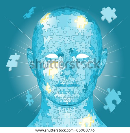 Jigsaw puzzle pieces forming a human head. Conceptual piece - stock photo