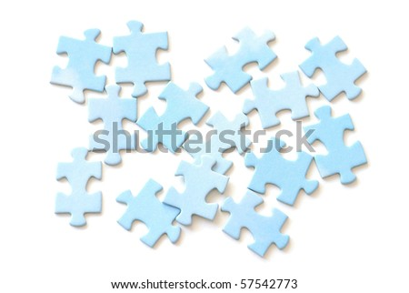 Jigsaw puzzle pieces on white background.