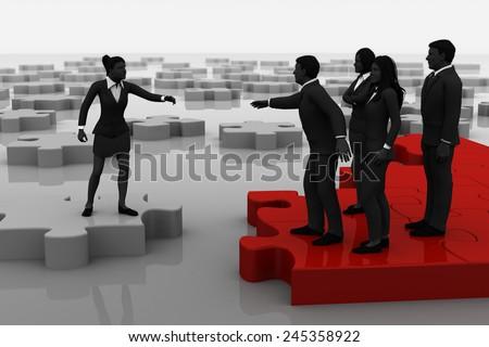 Jigsaw puzzle recruiting. A successful team recruiting like pieces of a jigsaw puzzle. - stock photo