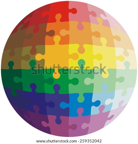 Jigsaw puzzle shape of a ball,  colors  rainbow.  illustration.