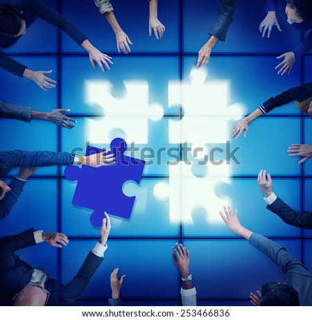 Jigsaw Puzzle Support Team Coopeartion Togetherness Unity Concept - stock photo
