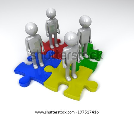 Jigsaw puzzle team - stock photo
