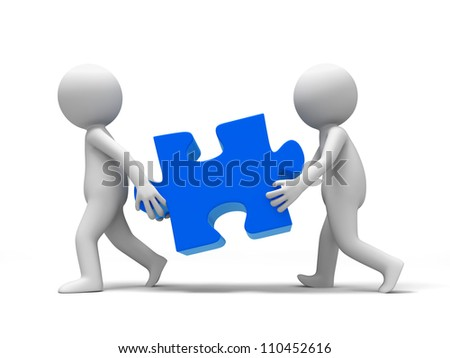Jigsaw/ puzzle/ Two people carried a Jigsaw