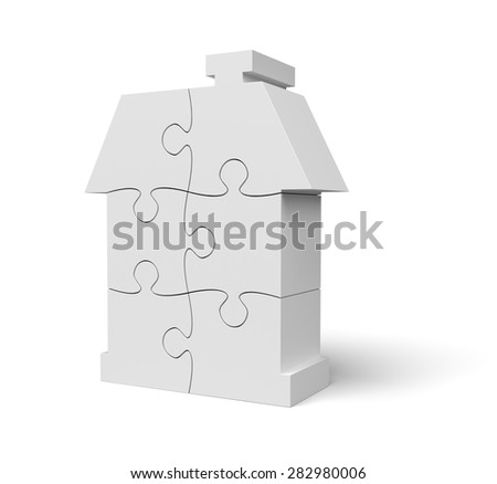 Jigsaw Puzzle White House on White Background with clipping path - stock photo